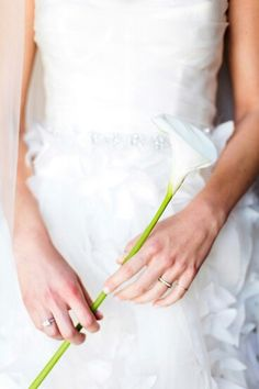 This Bride Carries A Single White Calla Lily××××