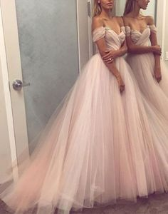 light pink tulle long prom dress, evening dress