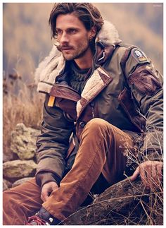 L'Ultimate Frontiera–Photographed by Diego Merino, models Edward Wilding, Tommy Dunn and Gaspard Menier grace the pages of GQ Italia with a fashion story featuring rugged, contemporary looks. Outfitted by stylist Andrea Porro, the handsome trio Edward Wilding, Rugged Style, Fashion Story, Fashion Outfits, Mens Fashion, Rugged Fashion, Mens Outdoor Fashion, Fashion Ideas, Wild Fashion