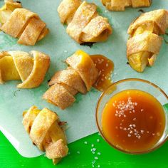Bite-Size Apple Pies Recipe -These little bites are fun for kids to make. Simply wrap strips of pastry around apple wedges and shake on some cinnamon-sugar. Then just bake and watch them disappear! —Taste of Home Test Kitchen