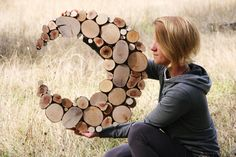Custom Made to order .Moon art Tree slice wall by WildSliceDesigns