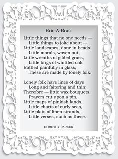 Dorothy Parker, Little Things, Prayers, Wax, Bouquet, Wreaths, Glass, Frame, Picture Frame