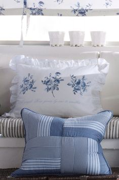 Two Blue & White Cushions/Pillows . White Cottage, Rose Cottage, Country Blue, White Houses, White Decor, Soft Furnishings, Shades Of Blue, Bed Pillows, Cushion Pillow