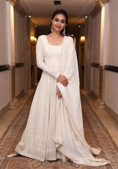 Styling cues to steal from Keerthi Suresh! Party Wear Indian Dresses, Indian Gowns Dresses, Indian Fashion Dresses, Dress Indian Style, Indian Wedding Outfits, Indian Designer Outfits, Pakistani Dresses, Indian Outfits, Indian Clothes
