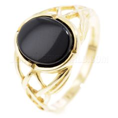 Celtic Onyx 9ct Gold Ring