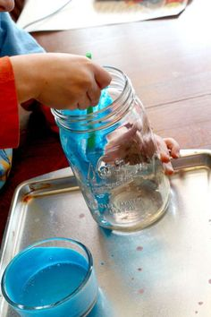 Paint the Mason jars with colored glue