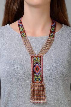 Colorful Long Beaded Necklace split loom by svetiknekleva on Etsy