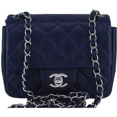 Pre-Owned Chanel Navy Blue Caviar Classic Quilted Square Mini 2.55... ($3,799) ❤ liked on Polyvore featuring bags, handbags, navy blue, quilted purses, quilted crossbody purse, chanel handbags, quilted handbags and blue purse