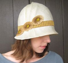 Straw Cloche Hat, 1920s Style, Ivory Womens Hat, Gold Trim, Handmade Millinery, Daisy. $150.00, via Etsy.