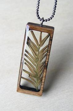 Pine Sprig & Wood Necklace