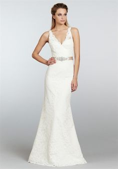 Tara Keely by Lazaro 2306-Ivory Alencon lace trumpet bridal gown, V-neckline with beaded ribbon belt at natural waist. Chapel train.