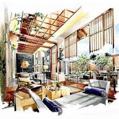 Metal Wall Art Home Decoration Interior Design Videos, Interior Design Renderings, Interior Design Presentation, Interior Rendering, Interior Sketch, Interior And Exterior, Interior Shop, Luxury Interior, Interior Architecture Drawing