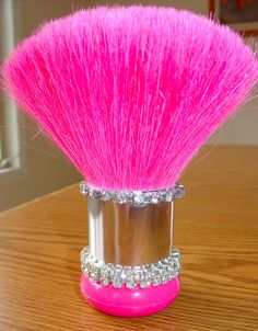 """My Own"" PINK huge puffy make-up brush with bling made by my talented mom :)   She made this for me as a get well gift for Cancer surgery I had June 2012."