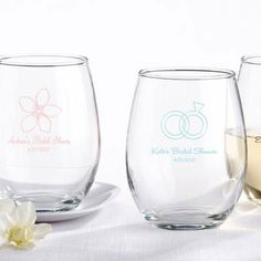 Personalized Stemless Wine Glass by Beau-coup. They have a grape logo for my winery wedding I want! Perfect wedding favors.