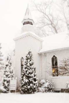 Winter Church With Window Light