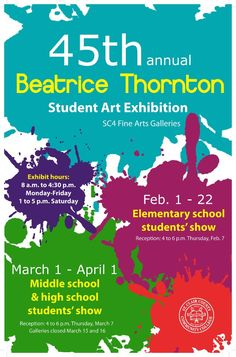 St. Clair County Community College will present the 45th annual Beatrice Thornton Student Art Exhibition http://www.bluewater.org/event/beatrice-thornton-student-art-exhibition-at-sc4-elementary-school-art-show/