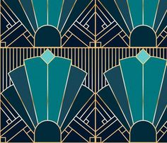 Colorful fabrics digitally printed by Spoonflower - Art Deco in Teal - Art Deco in Teal custom fabric by elysesanderson for sale on Spoonflower - Art Deco Paris, 1920s Art Deco, Lampe Art Deco, Art Deco Decor, Art Deco Colors, Motif Art Deco, Art Deco Design, Art Deco Style, Colores Art Deco