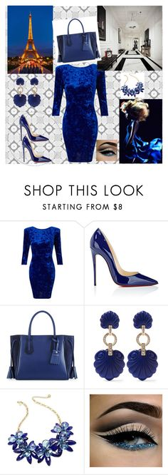 """""""#bluestyle"""" by selmiravehabovicc ❤ liked on Polyvore featuring Miss Selfridge, Christian Louboutin, Longchamp, Kenneth Jay Lane and Kate Spade"""