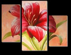 Stunning Contemporary Wall Art Oil Painting On Canvas Panels Gallery Stretched… 3 Canvas Paintings, Oil Painting On Canvas, Canvas Wall Art, Flower Canvas, Flower Art, Wall Painting Flowers, Contemporary Wall Art, Modern Art, Art Floral