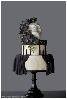 Vintage Goth Halloween Cake by Wild Orchid  |  TheCakeBlog.com (I think this is cute for a wedding cake but okay.)