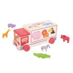ciężarówka ze zwierzętami - super drewniany sorter - zabawki ekologiczne na www.kidsabc.pl