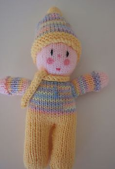 HAND KNITTED DOLL-ONE OF A KIND-HUG A BABY COLLECTION #1-9 INCHES TALL
