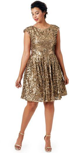Badgley Mischka Gilded Flowers Dress
