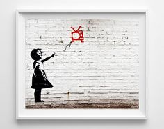 Banksy Print, Girl With Floating TV, Street Graffiti Art, Urban Artist, Stencil Art, Street Art, Home Decor, Fathers Day Gift