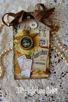 Gold Dust  HANDMADE  Collage Tag with paper by sugarlumpstudios
