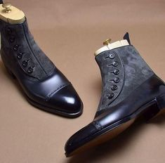 Wakeby Wolf Finesse Two Tone Black Gray Buttons Suede/Leather Boots #MensFashionShoes