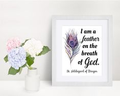 St. Hildegard of Bingen Quote Print I am a feather on the   Etsy Saints, Saint Quotes, Color Calibration, Quote Prints, Printing Process, Breathe, Catholic, Card Stock, Messages