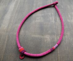 Extra fine crocheted necklace in cotton and silk shades of pink purple