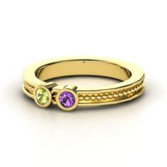 14K Yellow Gold Ring with Peridot & Amethyst - My daughters birthstones
