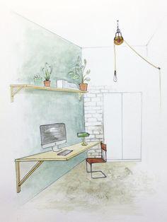 Sketch - watercolor - Botanic Hostel - interior design project by Anita Coppini