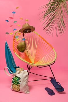 Colorful tropical scene with sunglasses, straw hat, chair and sandals and pink background wall, Guadalajara color scheme Colorful Wallpaper, Hd Wallpaper, Wallpapers, Tropical Wallpaper, Brainstorm, Ensemble Patio, Blue Flip Flops, Hacks, Moving House
