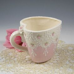 Pink Lace Sweetheart Mug by RomancingTheTeapot on Etsy, $28.95