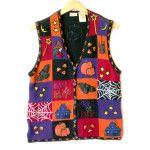 Purple and Orange Halloween Tacky Ugly Sweater Vest Ugly Sweater, Sweaters, Vest, Orange, Denim, Halloween, Purple, My Style, Jackets