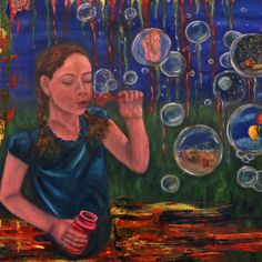 Luas bubbles by Inese Auzina Bubble S, Impressionism, Oil On Canvas, To My Daughter, Painting, Inspiration, Art, Biblical Inspiration, Art Background