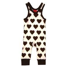 KRAM barnkläder - hängselbyxa vit/brun - Ziggys barnkläder