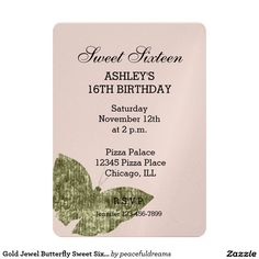 Gold Jewel Butterfly Sweet Sixteen 5x7 Paper Invitation Card