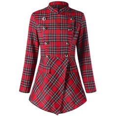 Ugly Christmas Double Breasted Plaid Coat (1.065 RUB) ❤ liked on Polyvore featuring outerwear, coats, rosegal, red coat, red plaid coats, double-breasted coat, red tartan coat and red double breasted coat