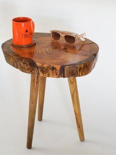 Rustic pine tree table tree trunk table log slice by SpaltedStudio