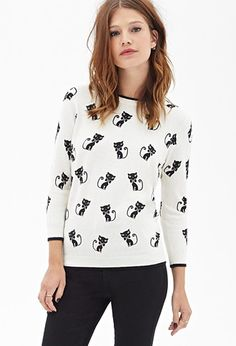 Siamese Cat Crew Neck Sweater | Forever 21 - 2055879401