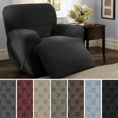 Shop Maytex Stretch Pixel 4 Piece Recliner Furniture Slipcover - On Sale - Overstock - 6226353 Recliner Chair Covers, Armchair Slipcover, Furniture Slipcovers, Furniture Covers, Leather Recliner, Home Decor Shops, Foot Rest, Living Spaces, Home And Garden