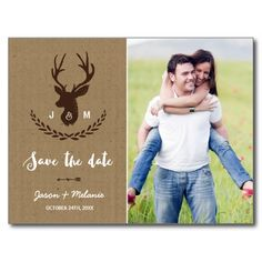 Rustic Monogram | Stag Photo Save the Date