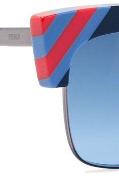 149f50f48f304 Fendi - Striped Cat-eye Acetate And Gunmetal-tone Sunglasses - Blue What I