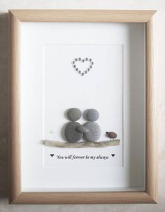 Pebble Art framed Picture Couple You will forever be my Shadow Box Kunst, Shadow Box Art, Stone Crafts, Rock Crafts, Beach Rock Art, Pebble Art Family, Pebble Pictures, Art Pictures, Boyfriend Crafts
