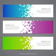 Colored abstract banners Free Vector