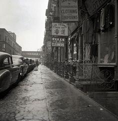 Chinatown sidewalk, January 1953