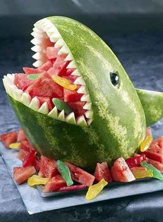 Shark watermelon. My boys would love this!  Interesting Ideas Fruit and Vegetable Art